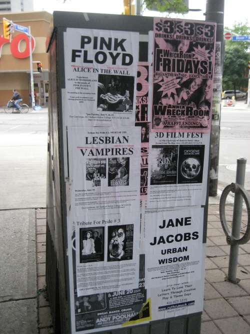"I couldn't post here without mentioning something of the bizare variety. I spotted a few kiosks that displayed flyers for a ""lesbian vampires"" show. In case you're into that."