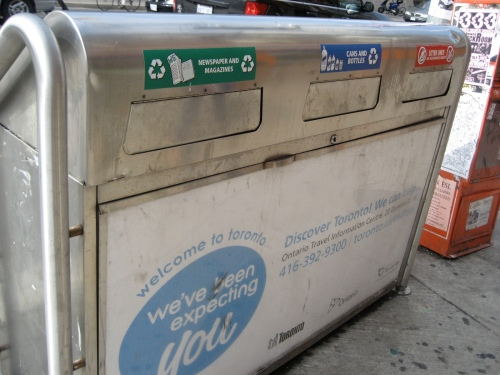 Nope, still in Toronto. It must be a dream, though. It's a city that actually recycles, unlike Chicago. There was a receptacle like this on nearly every street corner. Gasp!