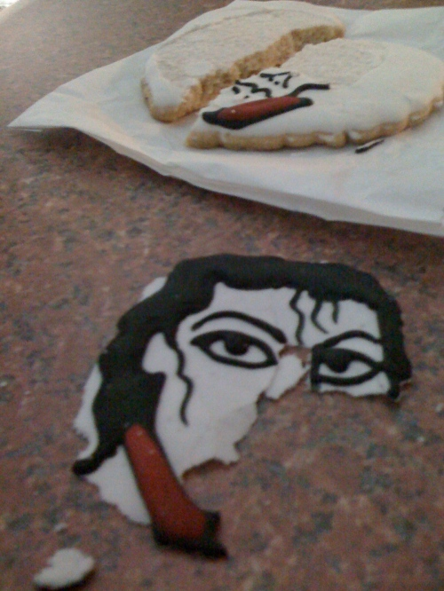 After arriving home, Joe enthusiastically broke the cookie in half and broke Michael's face. Also, very fitting.